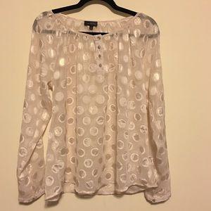Sheer Patterned Dress Shirt in Creamy Light Pink